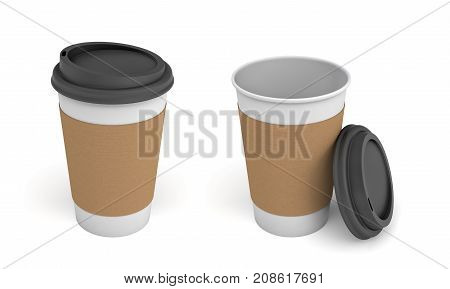 3d rendering of two white paper coffee cups with brown stripes and black lids, one closed and one open. Takeaway drinks. Tea and coffee. Coffee shop supplies.