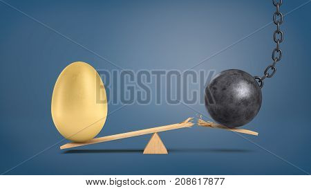 A wooden seesaw with a huge golden egg overweighing a wrecking ball that breaks the plank. Property investment. Valuables. Profit from someone's trouble.