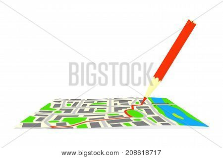 The route and pencil on the map of the city. Vector illustration.