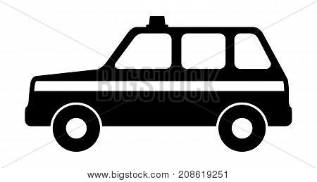 Silhouette of a police car. Vector illustration.