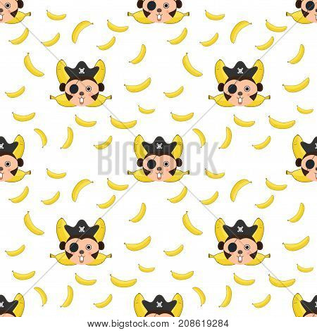 Seamless pattern Monkey and bananas logo. Monkey head and crossed bananas.pirate monkey cartoon T-shirt design for kids on white background vector illustration