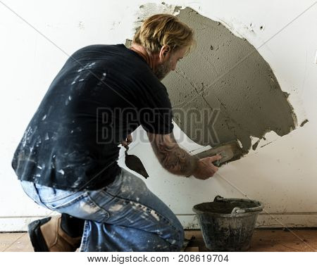 Plaster cement wall indoor construction
