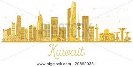 Kuwait City skyline golden silhouette. Simple flat concept for tourism presentation, banner, placard or web site. Business travel concept. Kuwait isolated on white background.