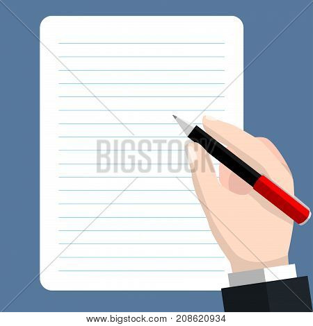 Business Hand writing on sheet of paper with pen. Sign document writing contract review paperwork dictation concepts. Flat vector illustration.