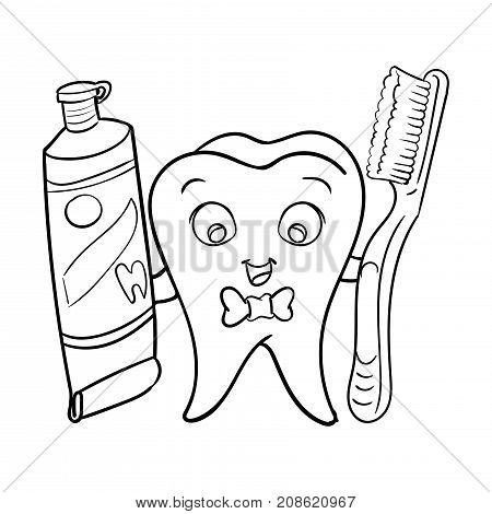 Cartoon smiley dental Tooth holding tooth paste and tooth brush-Vector character design.