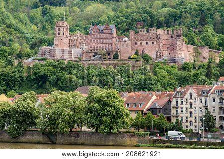 Beautiful view of Heidelberg castle and Neckar river Heidelberg Germany.