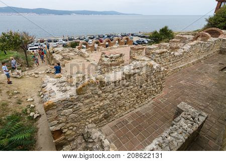 NESEBAR BULGARIA - AUGUST 21 2017: The ruins of Church of the Holy Mother Eleusa in the UNESCO World Heritage town of Nesebar. In the Western church the type is often known as the Virgin of Tenderness.