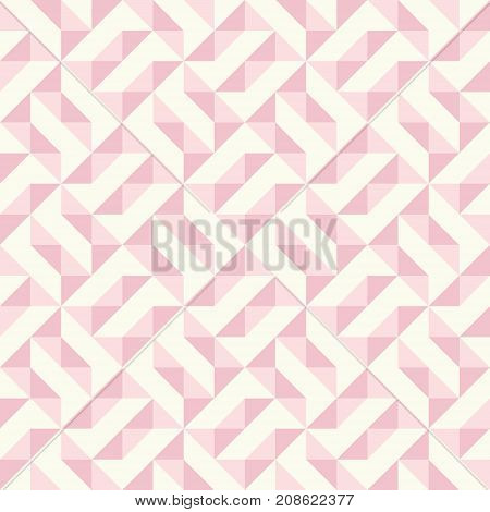 Regular geometric pattern inspired by traditional patchwork duvet quilting. Only 3 colors - easy to recolor. Seamless vector background. Pastel retro colors.