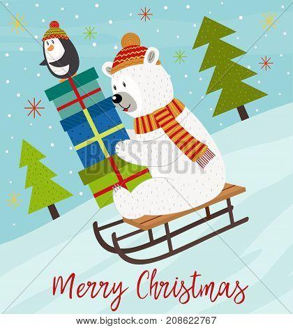 Merry Christmas card with polar bear and penguin on sled - vector illustration, eps