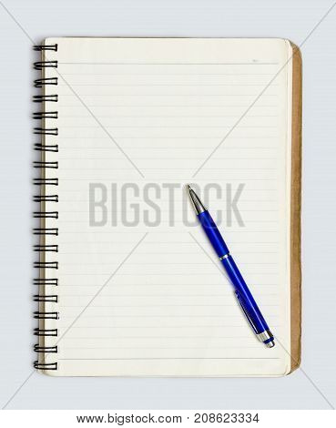 Blank realistic spiral notepad notebook and pen isolated on white vector. Display Mock up for coporate identity and promotion objects.