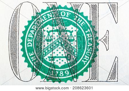 Detail of one dollar bill in macro. High resolution photo.