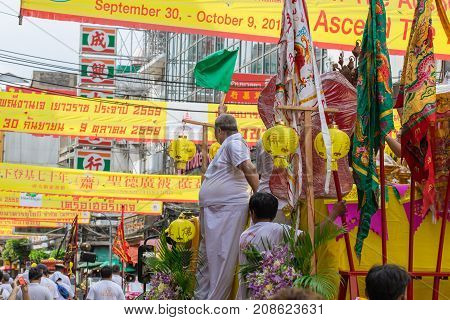 Yaowarat Or Bangkok China Town Street Food Decoration With Yellow Flag In Vegetarian Festival In Tha