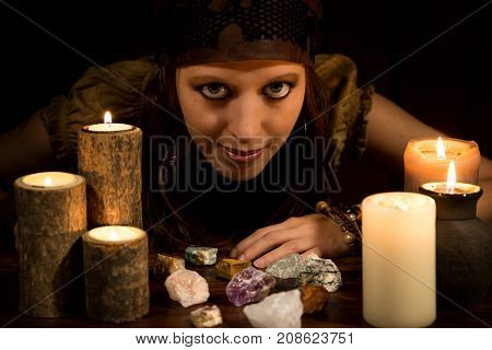 Oracle With Healing Stones And Candles, Concept Strenght And Love