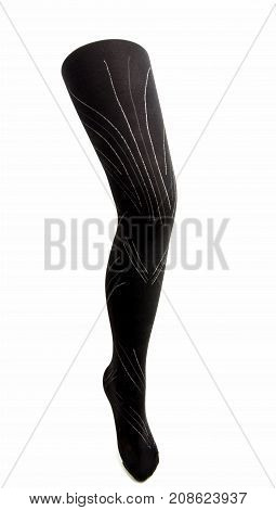 leg dummy with tights on a white background