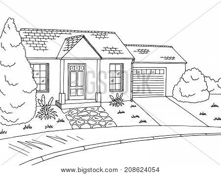 Street road graphic black white landscape sketch illustration vector
