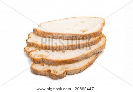 slices of bread sliced on white background