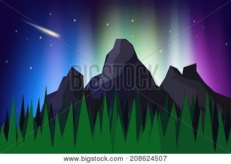 Lanscape mountain view with aurora borealis abstract background vector illustrationThe northern lights