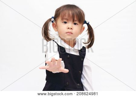 Japanese Girl Playing Rock-paper-scissor In Formal Wear (2 Years Old) (paper)