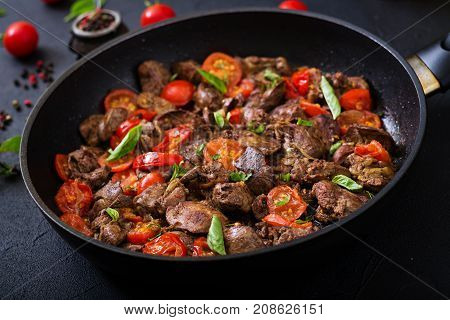 Chicken Liver (offal) With Onions And Tomatoes In A Frying Pan In Armenian