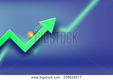 paper art of Graph economic growth concept idea vector Finance money