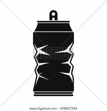 Crumpled tin can icon. Silhouette illustration of Crumpled tin can vector icon for web isolated on white background