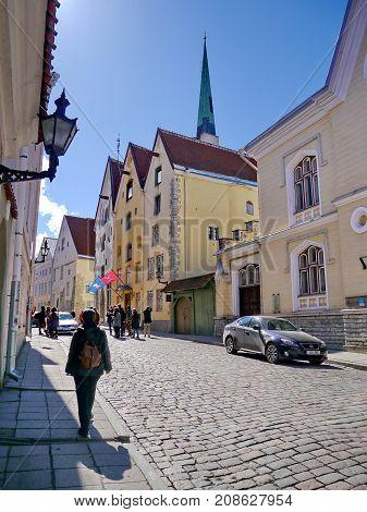 Tourists in the streets of Old Tallinn (Vana Tallinn), Estonia, spring 2017