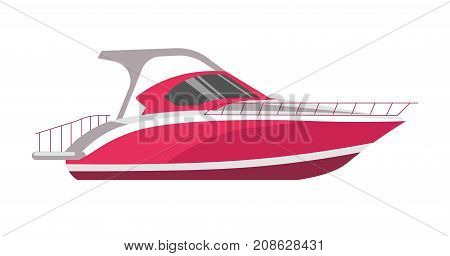 Speed boat yacht or marine cruise motorboat. Vector ocean travel speedboat or powerboat transport flat icon for luxury yacht club or travel