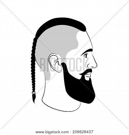 Viking haircut fashion man sign with braid and beard