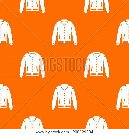Jacket pattern repeat seamless in orange color for any design. Vector geometric illustration