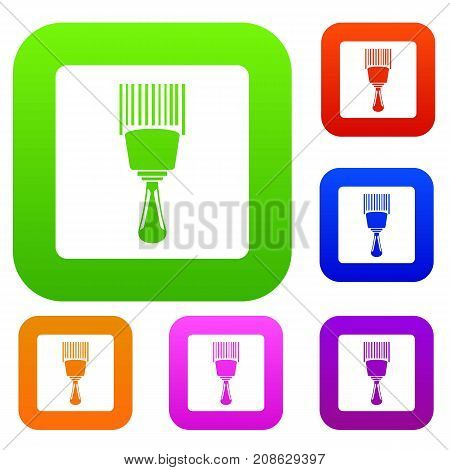 Bar code scanner set icon color in flat style isolated on white. Collection sings vector illustration