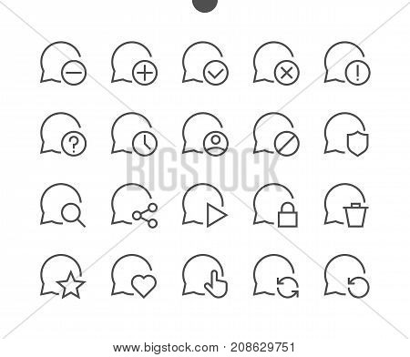Messages UI Pixel Perfect Well-crafted Vector Thin Line Icons 48x48 Ready for 24x24 Grid for Web Graphics and Apps with Editable Stroke. Simple Minimal Pictogram Part 4-5