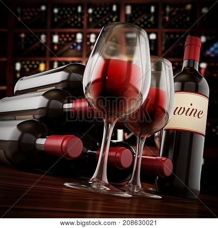 Wine bottles and glasses on winery table. 3D illustration.