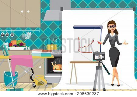 Young businesswoman is conducting a business webinar in the kitchen. A housewife girl works from home via the Internet. Flat cartoon vector illustration