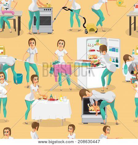 Seamless pattern of woman housewife. Flat cartoon vector illustration