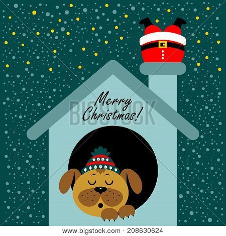 Christmas card with a cartoon dog in the booth. The new year 2018. Vector illustration