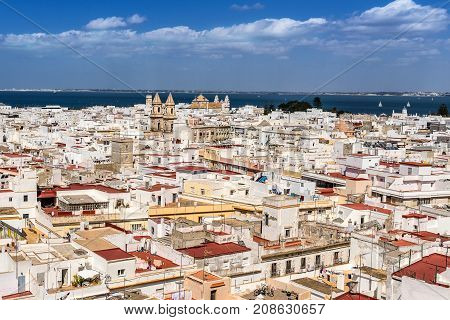 Looking across the rooftops of Cadiz in south east Spain