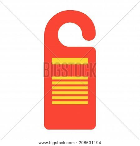 Vector door hanger red icon. Do not disturb hotel signs. Flat vector cartoon illustration. Objects isolated on a white background.