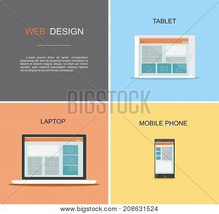 Responsive web design. Flat vector design style concept.