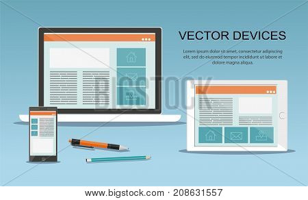 Set of laptop, tablet and mobile phone.  Responsive web design. Flat vector devices design style concept.