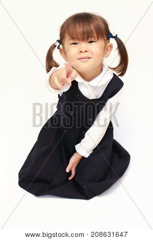 Japanese Girl On The Floor Pointing At The Camera In Formal Wear (2 Years Old)