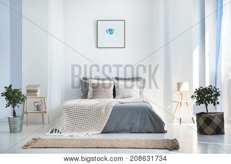 Bright Bedroom Interior With Plants