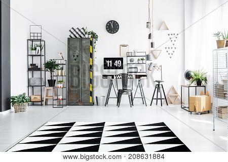 Bright Workspace Interior With Wardrobe