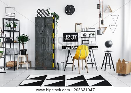 Home Office With Metal Wardrobe