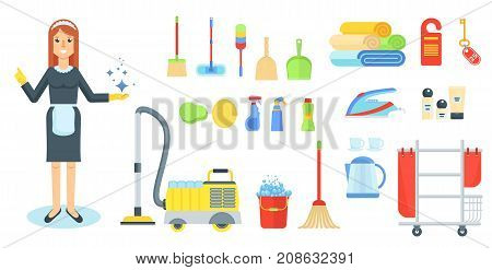 Maid flat vector character. Girl, woman in uniform with cleaning supplies and vacuum cleaner. Cleaning service of hotels and houses. Cartoon illustration. Objects isolated on a white background.