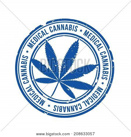 medical cannabis blue stamp vector illustration .