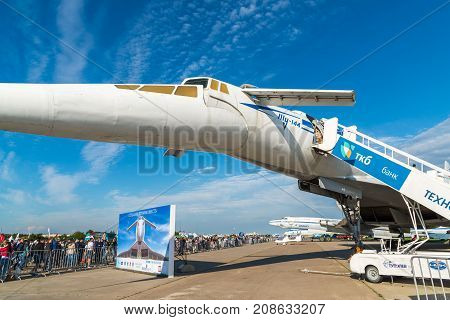 Zhukovsky, Russia - July 24. 2017. Tupolev Tu-144 plane was the first in the world commercial supersonic transport aircraft at the International Aviation and Space salon MAKS-2015