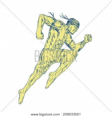 9Drawing sketch style illustration of a Muay Thai Fighter Kicking jumping viewed from side on isolated background.