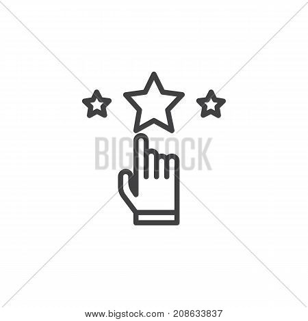 Rate with hand and stars line icon, outline vector sign, linear style pictogram isolated on white. Achievement symbol, logo illustration. Editable stroke