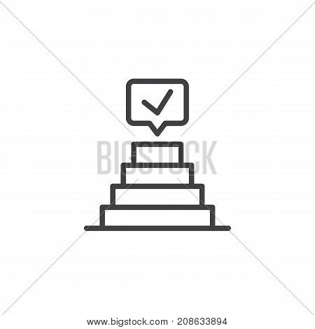 Success pyramid with check mark line icon, outline vector sign, linear style pictogram isolated on white. Achievement symbol, logo illustration. Editable stroke