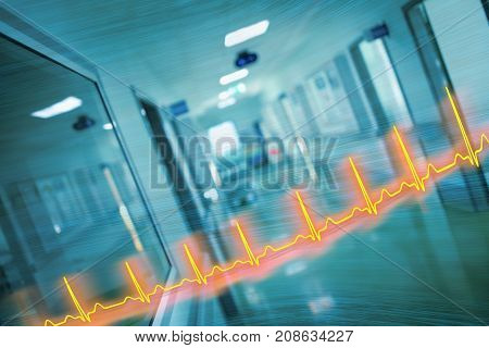 ECG line and hospital corridor concept of an emergency care.